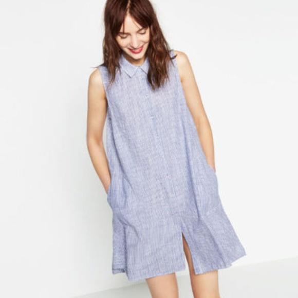 4a38a05bd02 Zara Striped Linen Sleeveless Shirt Dress size XL.  M 5a733295d39ca27f0b117f4b